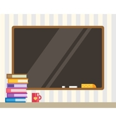 Books and black board back to school education vector
