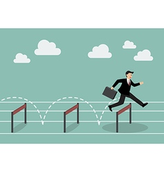 Businessman jumping over hurdle vector