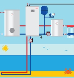 Sea lake or pond source heat pump vector
