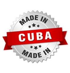 Made in cuba silver badge with red ribbon vector