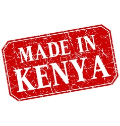 Made in kenya red square grunge stamp vector