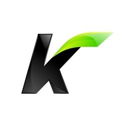 K letter black and green logo design fast speed vector