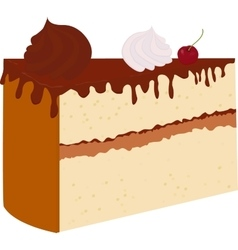 chocolate cake with cherry isolated on a vector image
