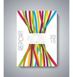 Abstract brochure flyer design with color ribbons vector