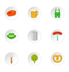 Beer holiday icons set cartoon style vector image vector image