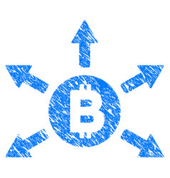 Bitcoin emission grunge icon vector