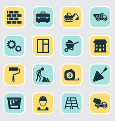 Building icons set collection of engineer vector