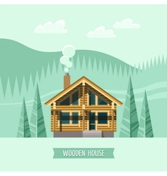 Chalet wooden house eco house vector