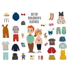 children fashion big icon set vector image vector image