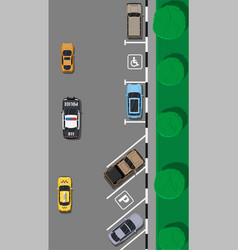 City parking lot with different cars vector