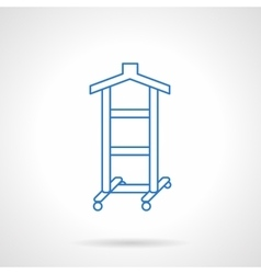Clothes hanger flat blue line icon vector