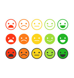 colored flat icons of emoticonsdifferent emotions vector image vector image