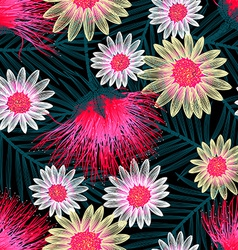 Colorful cottage floral embroidery seamless vector image vector image