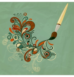 Concept cartoon brush painting branch vector