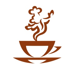 cup of hot coffe with vapor looking like a cook vector image