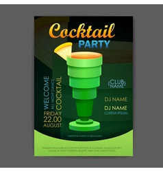 Disco cocktail party poster 3D cocktail design vector image vector image