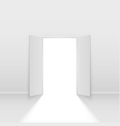 Double open door on white background vector