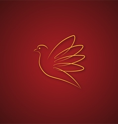 Dove logo over red vector image vector image