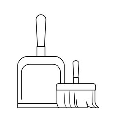 dustpan and hand broom in monochrome silhouette vector image