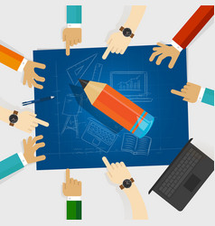 Education developing idea together make plan vector