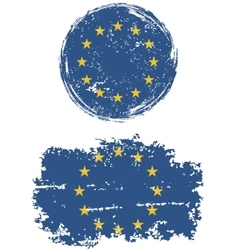European Union round and square grunge flags vector image vector image
