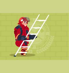 Fireman climb ladder up in uniform and helmet vector