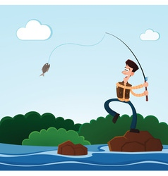 Fishing in the river vector