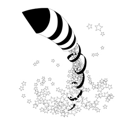 Flying firework rocket with a ribbon and stars vector image vector image