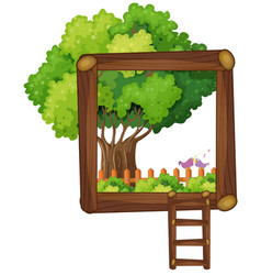 Frame design with tree and ladder vector