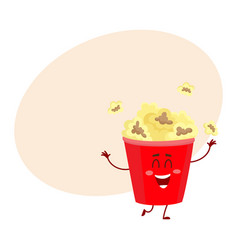 Funny cinema popcorn bucket character with smiling vector