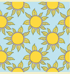Funny doodle suns hand drawn pattern vector