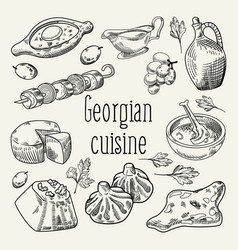 Georgian food hand drawn georgia cuisine vector