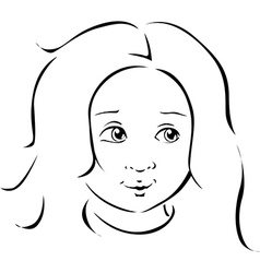 girl portrait black line vector image