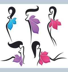 girls look like a bright flowers vector image vector image