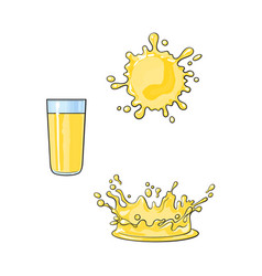 glass cup splash of lemon juice set vector image