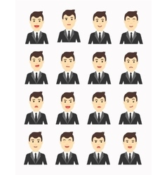 Handsome man Expressing different emotions Flat vector image