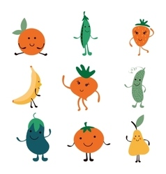 Happy farm vegetables characters collection vector