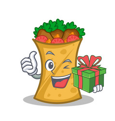 Kebab wrap character cartoon with gift vector