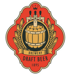 label for draft beer with barrel and coat of arms vector image
