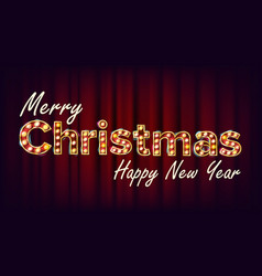merry christmas and happy new year sign vector image