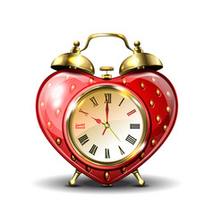Metal retro style alarm clock in strawberry form vector