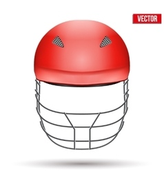 Red Cricket Helmet Front View vector image vector image