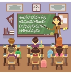 School lesson in classroom with child pupils and vector image
