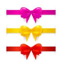 Set with realistic red pink yellow bows vector image vector image