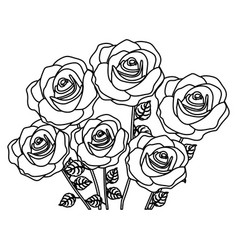 Silhouette bouquet roses floral design vector