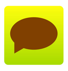 speech bubble icon brown icon at green vector image vector image