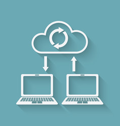 sync data cloud computing concept vector image