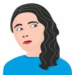 Thoughtful girl vector image