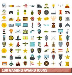 100 gaming award icons set flat style vector