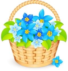 basket of blue flowers vector image